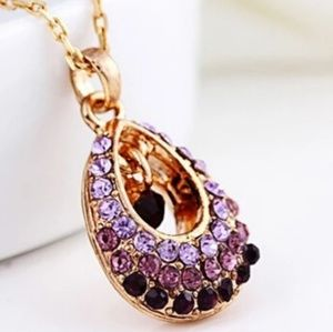 Jewelry - Ombre Purple Crystal Teardrop Necklace